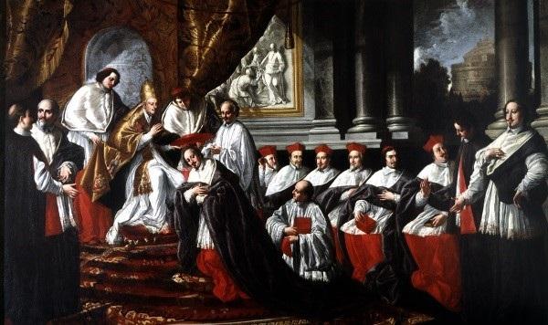 Don Pino Esposito - Pier Leone Ghezzi, Innocenzo X conferisce il cappello cardinalizio a Fabio Chigi - (Dipinto, 1724-1725, Museo di Roma)