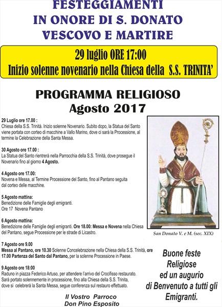 Festeggiamenti in onore del Santo Patrono
